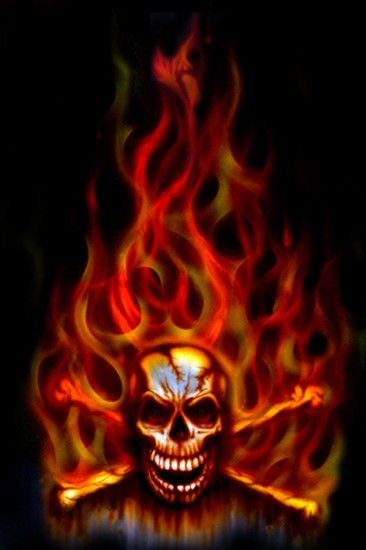 Images For > Green Flaming Skull Wallpaper