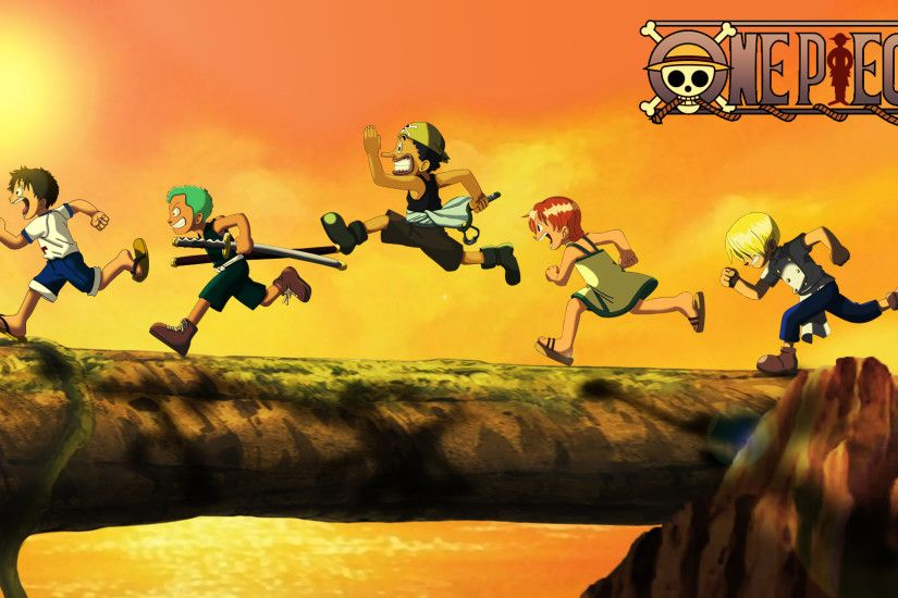 One Piece Kid Luffy, Zoro, Usopp, Nami and Sanji Wallpaper