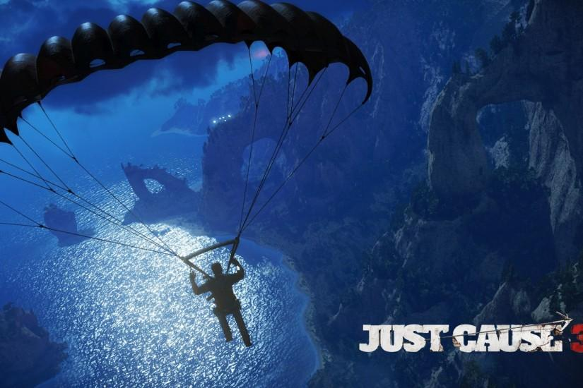 Skydiving over the rocky coast - Just Cause 3 wallpaper 1920x1080 jpg