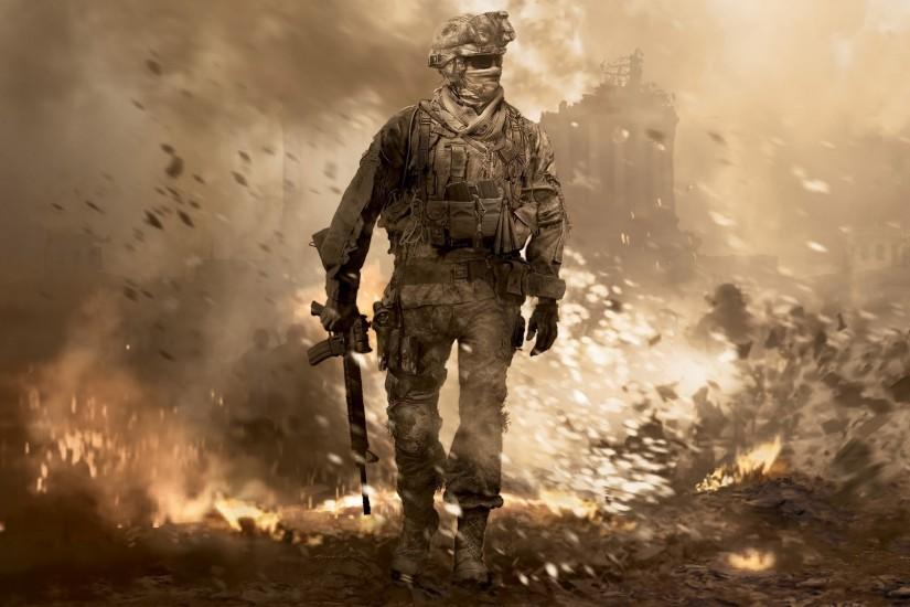 Preview wallpaper call of duty, soldier, gun, glasses, explosion 1920x1080