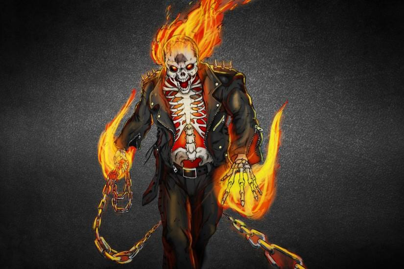Wallpaper ghost rider, ghost rider, skeleton, fire, flame, skull .