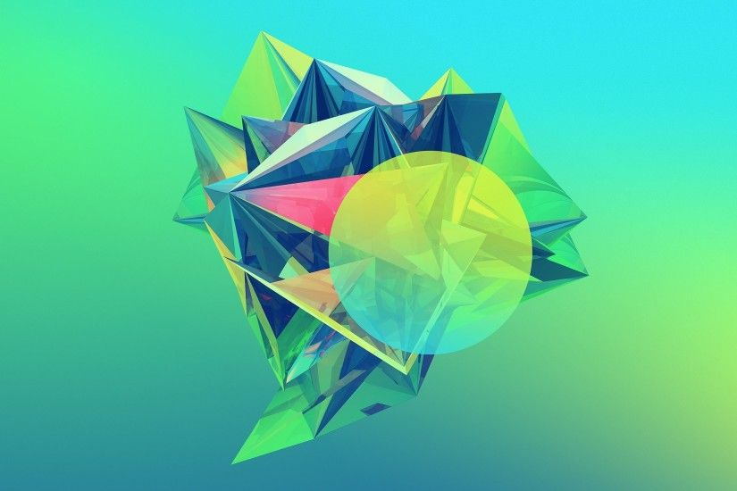 Abstract-Colored-Diamond crystaline-geometry ...