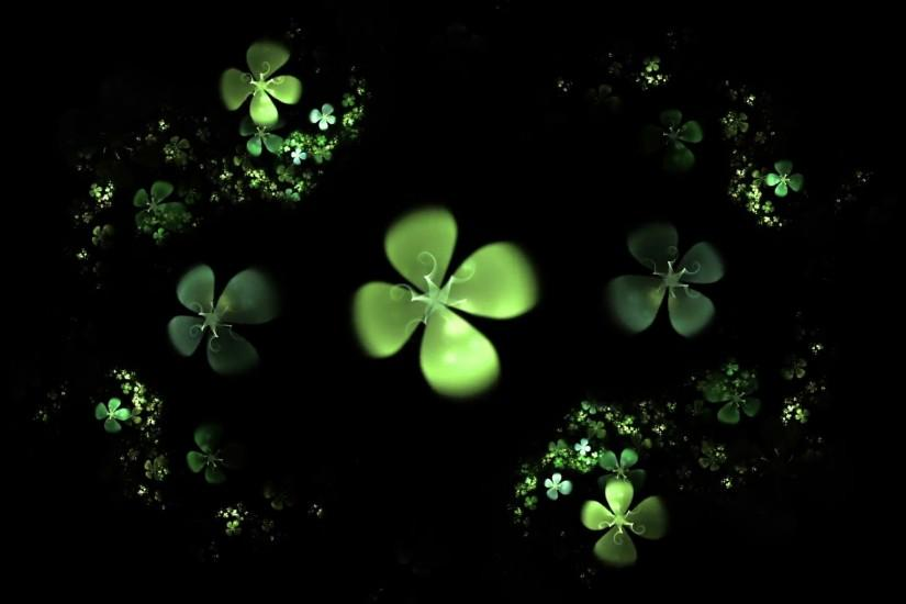 Green Four Leaf Clover On Black - Shamrock, animated illustration of a  four-leafed clovers field on black background, 30fps, HD1080, loopabable  Motion ...