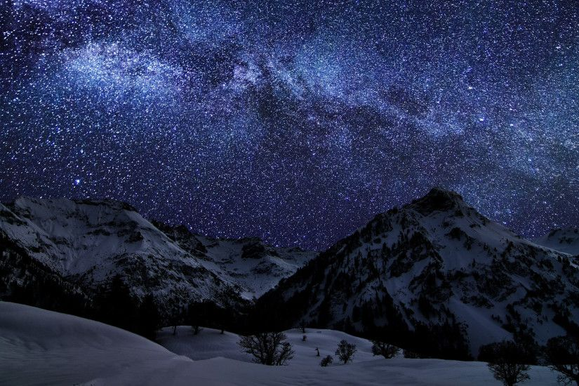 Preview wallpaper winter, sky, stars, nature, night 2560x1440