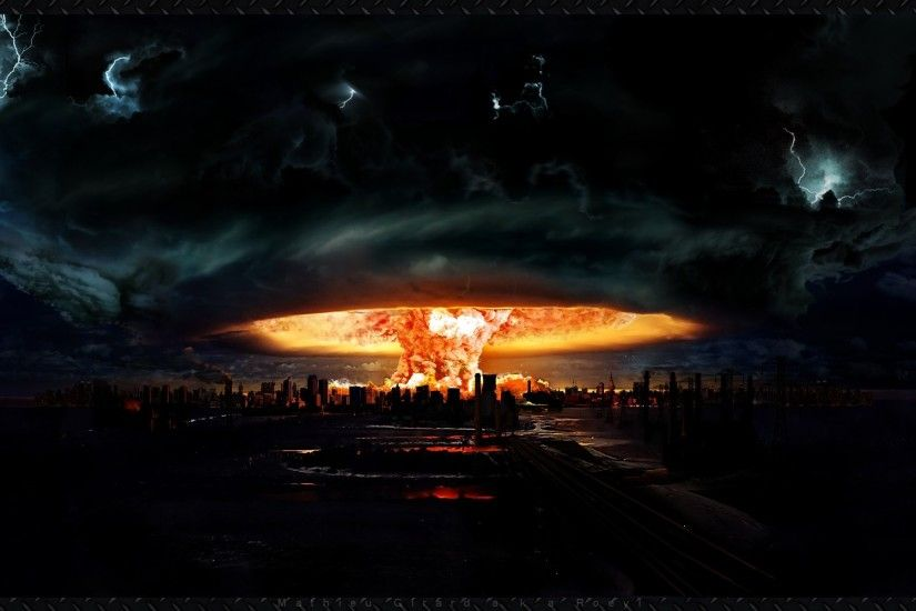 Atomic bomb explosion over city buildings HD Wallpaper -  http://www.hdwallpaperuniverse.com/atomic-bomb-explosion-city-buildings-hd- wallpaper/ | Pinterest ...