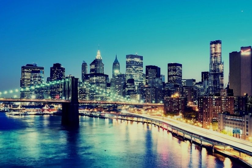 3840x2160 Wallpaper night, city, lights, buildings, skyscrapers, new york,  lower