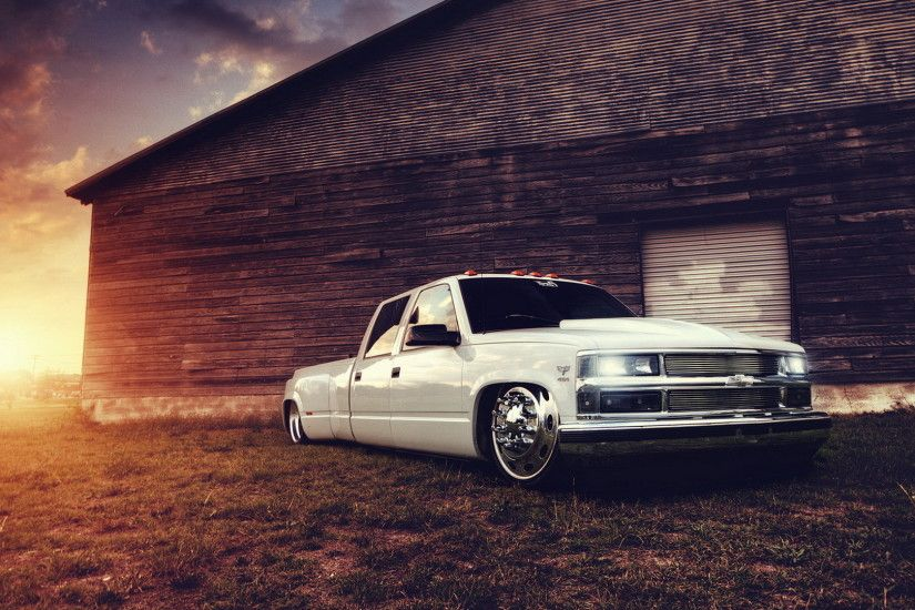 Chevrolet truck tuning white building lowrider sunset wallpaper .