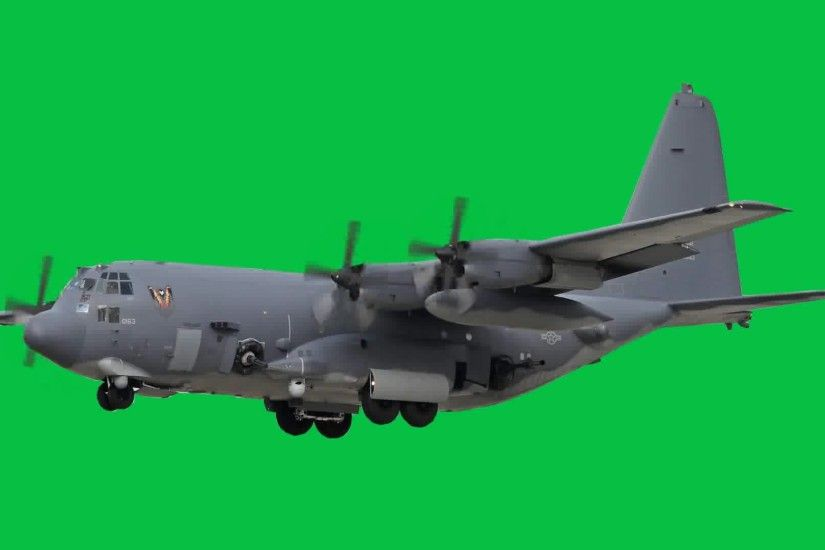 AC-130 gunship green screen - side GIF