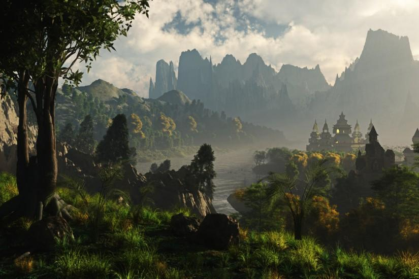 large fantasy landscape wallpaper 1920x1080 high resolution