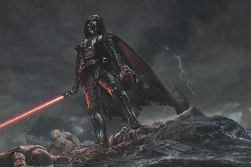 Preview wallpaper star wars, darth vader, art, rain 2048x1152