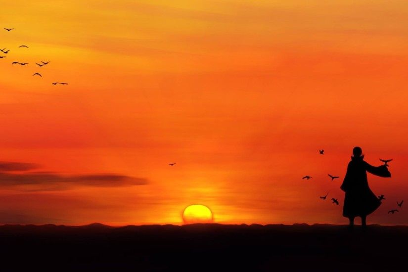 anime, Uchiha Itachi, Sunset, Silhouette, Birds Wallpapers HD / Desktop and  Mobile Backgrounds