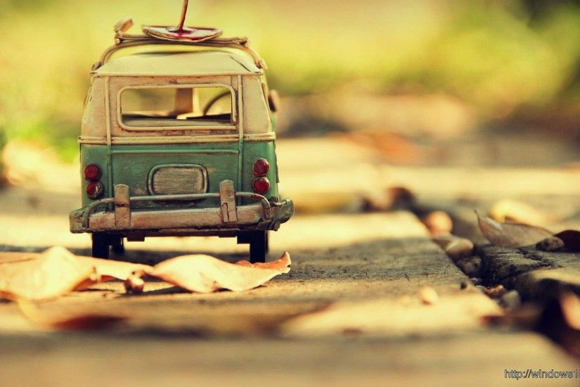 Photography Vintage HD Of Toy Blue White VW Bus Wallpaper