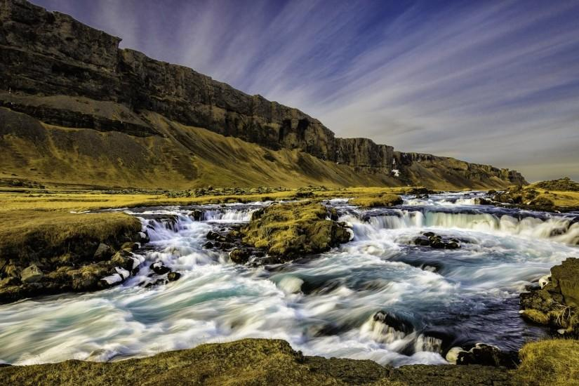 Preview wallpaper iceland, river, stream, rocks, mountains 1920x1080