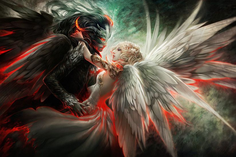 Devil and Angel Love Free Desktop Wallpaper | HD Wallpaper