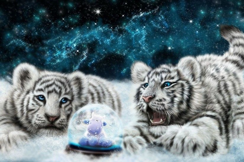 White tiger cubs looking at the snowglobe