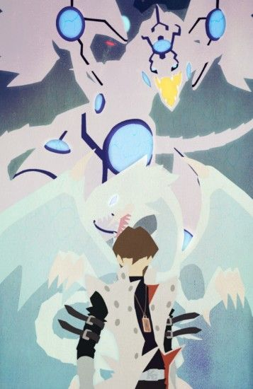Seto Kaiba, Blue Eyes White Dragon, Shinning Blue Eyes Dragon and Obelisk  Background Minimalistic