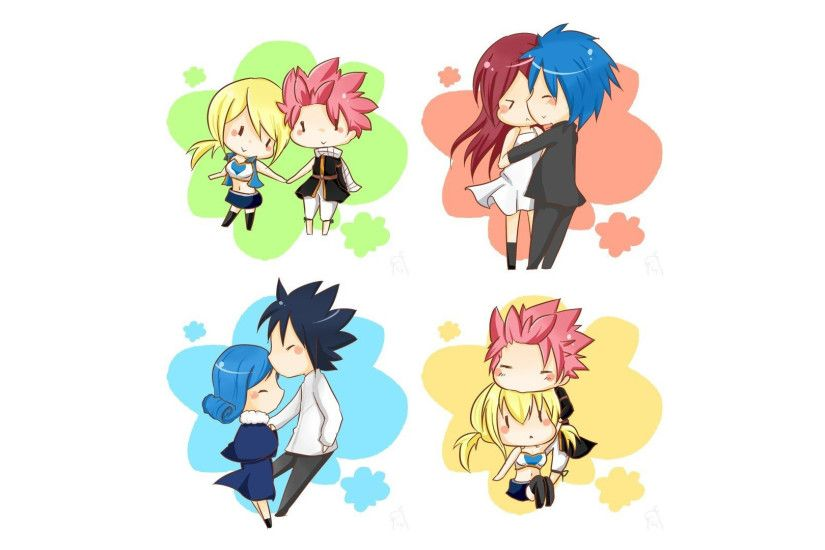 chibi lucy heartfilia and natsu dragneel , erza scarlet and jellal  fernandes , gray fullbuster and