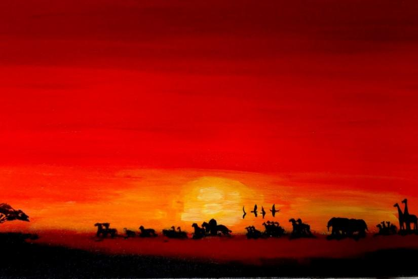 The director's use of colors in the sunset help to show the changing mood  of Simba.
