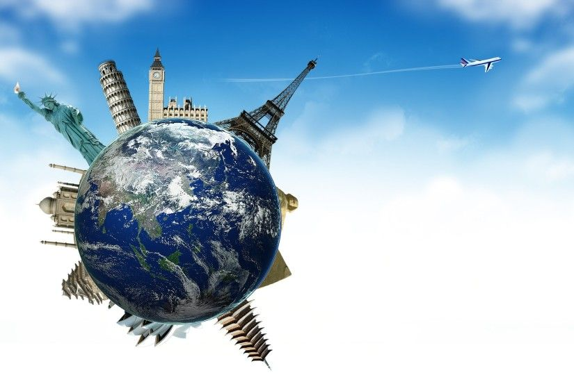 Airplane Planet Sky Earth Globe Earth Plane Travel Tourism France England  Spain Wallpaper At 3d Wallpapers