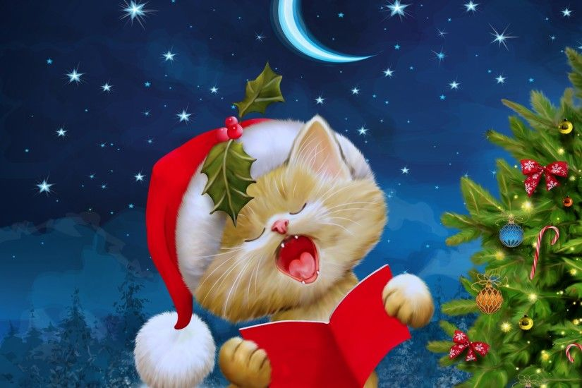 2048x2048 Wallpaper new year, christmas, cat, card