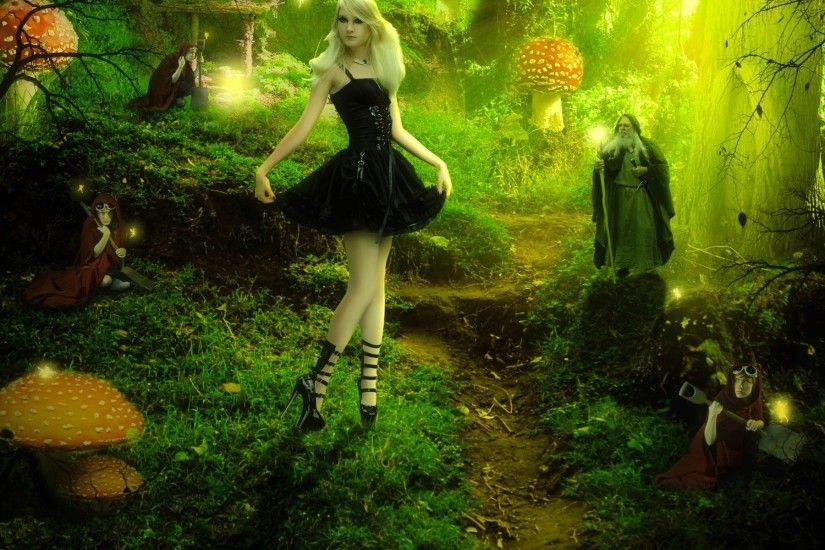 Barbie fairy forest fantasy trees magical wizard mushroom women girl .