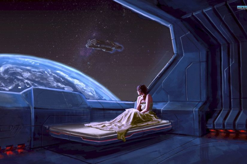 Girl in a spaceship wallpaper - Fantasy wallpapers -