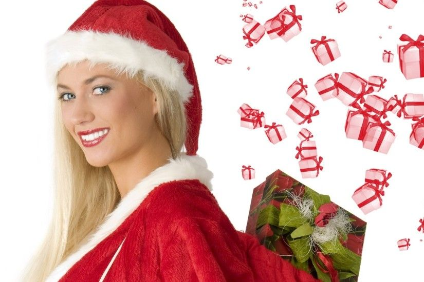 Merry Christmas Pin Up Girl Wallpaper