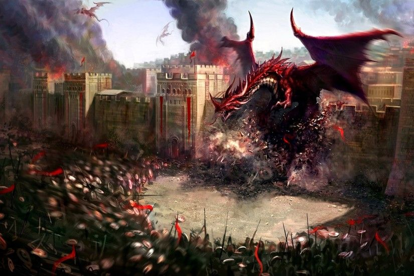 Wallpaper Dragons, City, Wall, Destruction, Soldiers, Defense
