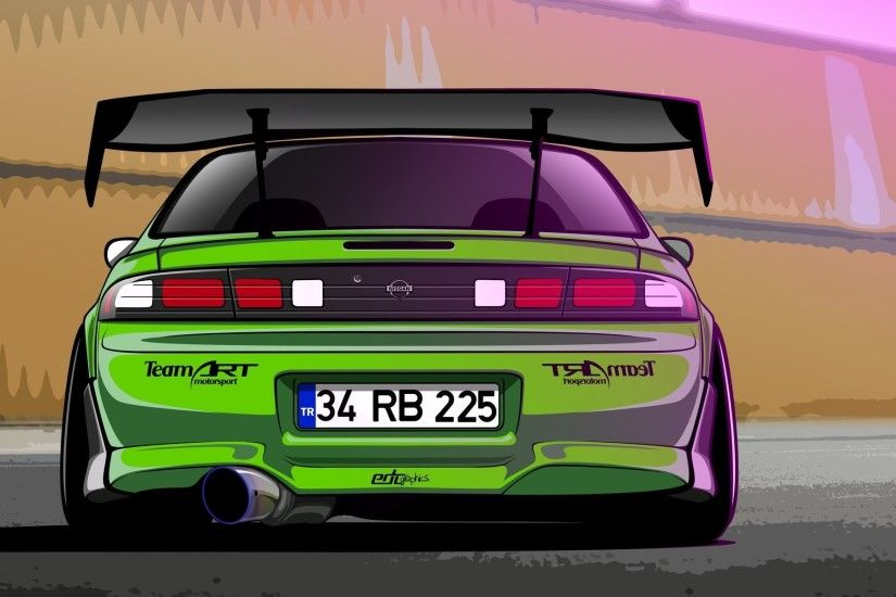 nissan silvia s14 200sx green drift spec vector by edcgraphic