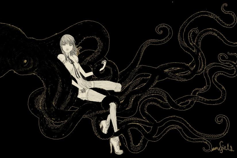 Octopus Illustration Wallpaper Women Octopus Wallpaper