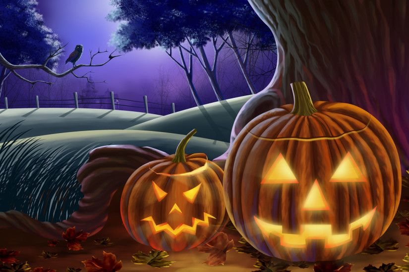 2 Jack-o-lantern Wallpaper - Halloween Art illustration