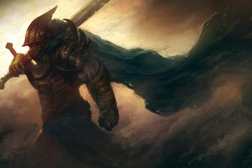 Preview wallpaper art, warrior, armor, helmet, sword, wind, storm 1920x1080