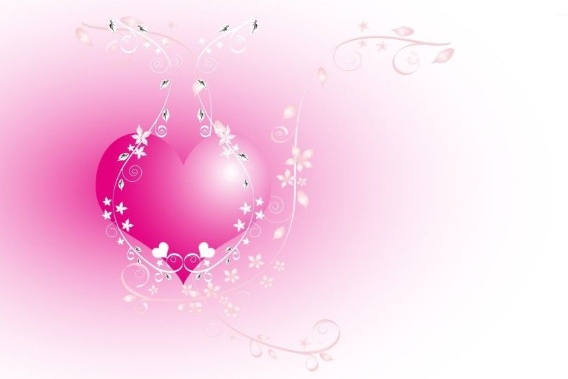 Pink heart chained in the flowers wallpaper
