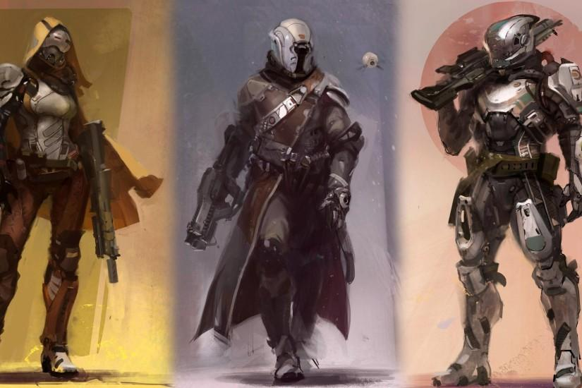 Hunter, Titan and Warlock Destiny game sci fi. HD 1920x1080 1080p .