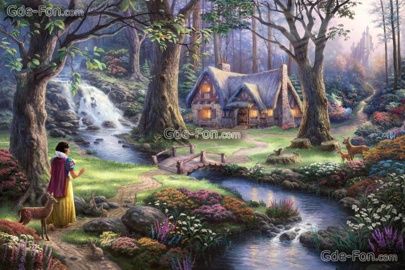 Download wallpaper Thomas Kinkade, princess, Disney, Art free .