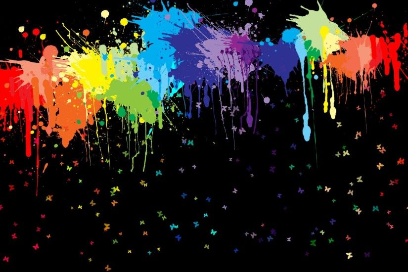 artwork, Paint splatter, Butterfly, Colorful, Black background Wallpaper HD