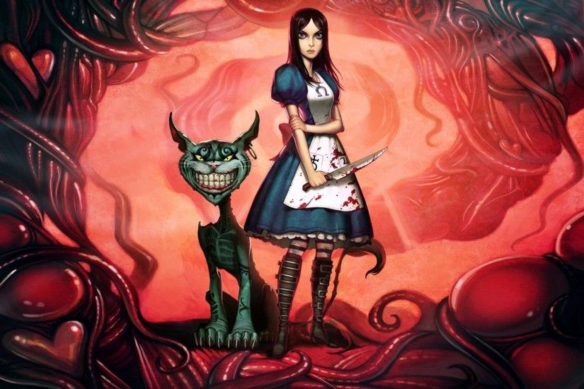 1920x1080 Wallpaper alice madness returns, alice, cheshire cat, smile, knife