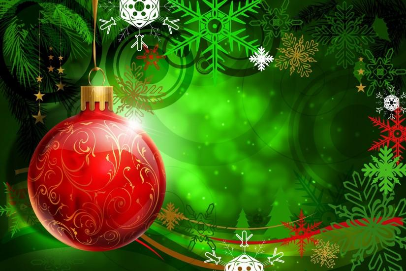 Red Christmas Ball on Green Background Wallpapers - HD Wallpapers 16426
