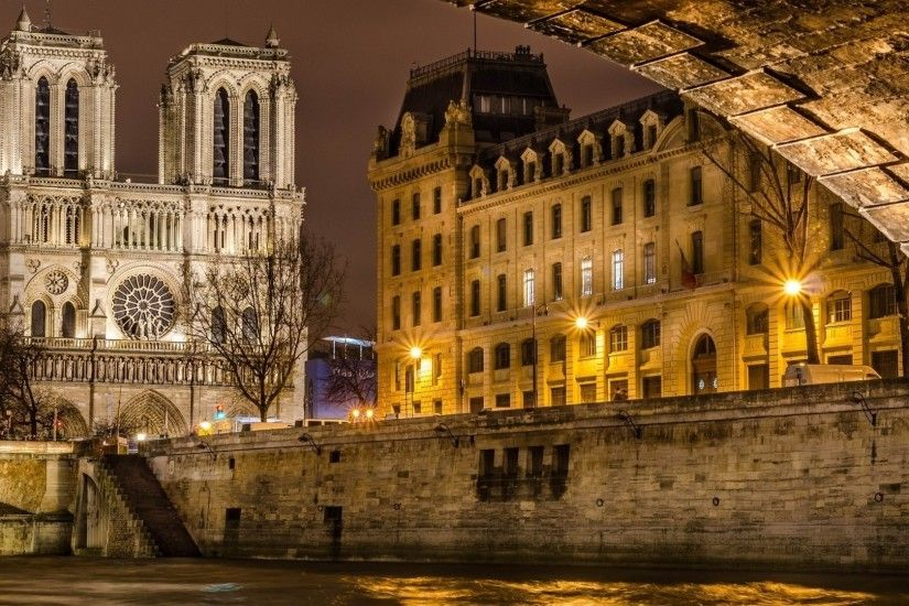 architecture, Cityscape, City, Building, Old Building, Street, Cathedral,  Street Light, Paris, France, Notre dame, River, Bridge, Trees, Lamps  Wallpapers HD ...