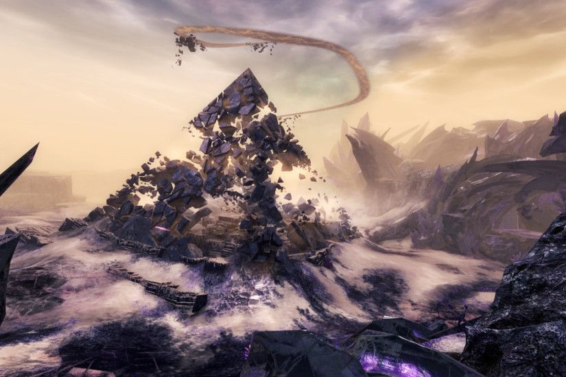 This screenshot from Guild Wars 2 shows the remnants of a pyramid-like  structure that