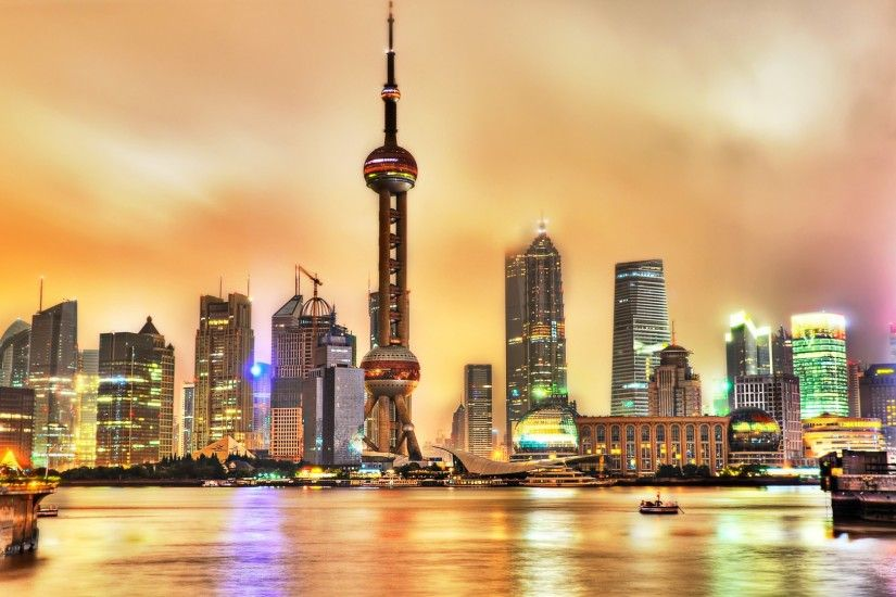 Bright Shanghai Night HDR Wallpaper