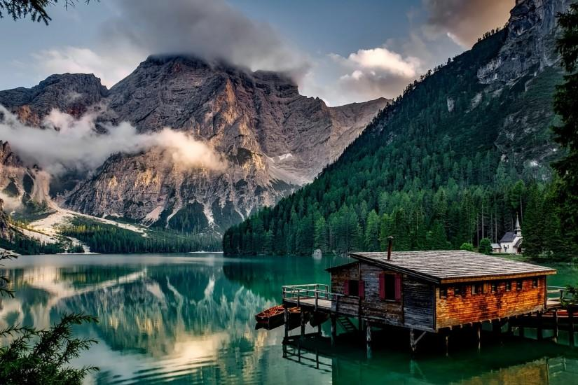 Preview wallpaper italy, mountain, lake, building, mountain landscape  1920x1080