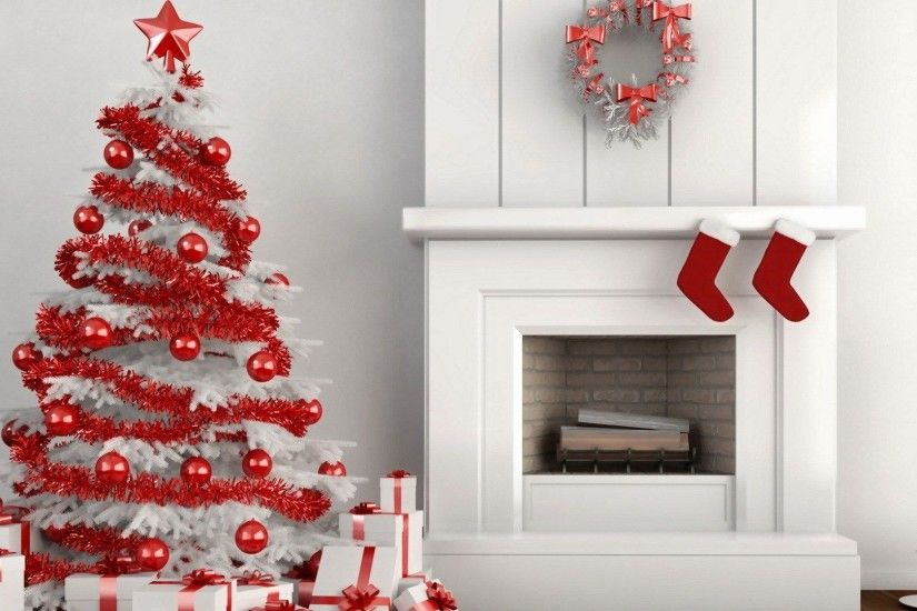 Red and White 1920x1080 Christmas Wallpaper.