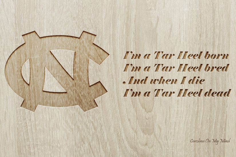 UNC Desktop Wallpaper Engraved Wood