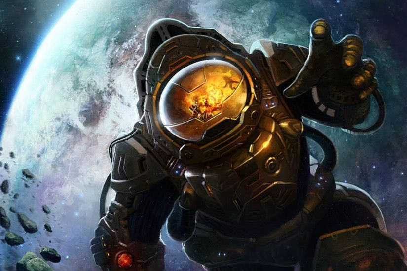 Lost in Space Picture sci-fi, painting, space, astronaut, explosion)