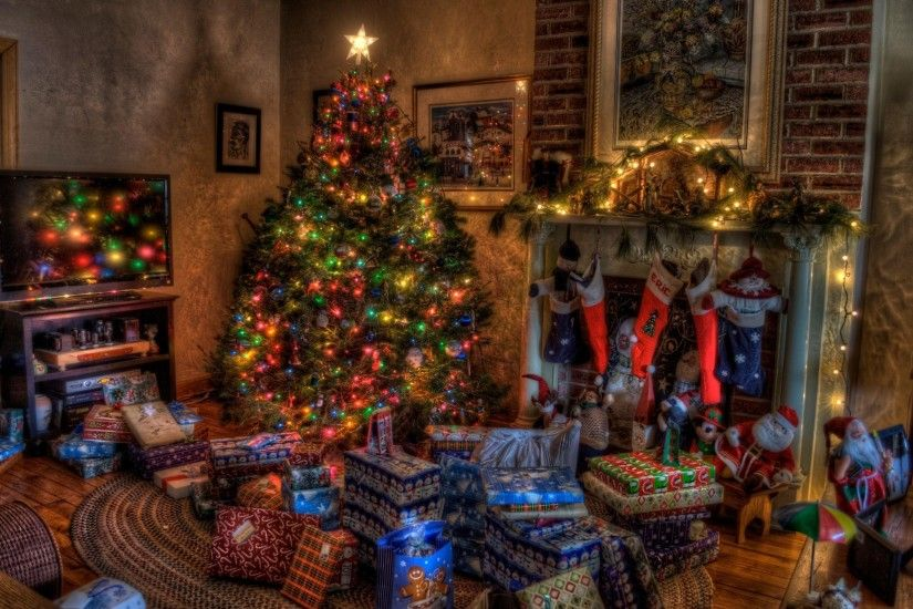 Wallpaper tree, christmas, presents, fireplace, holiday, toys, stockings,  home