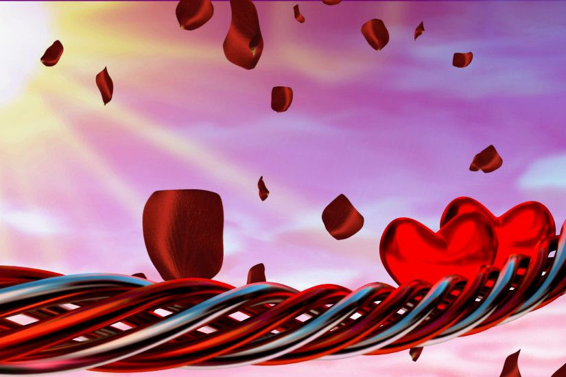 Motion background with red hearts and petals Motion Background - VideoBlocks
