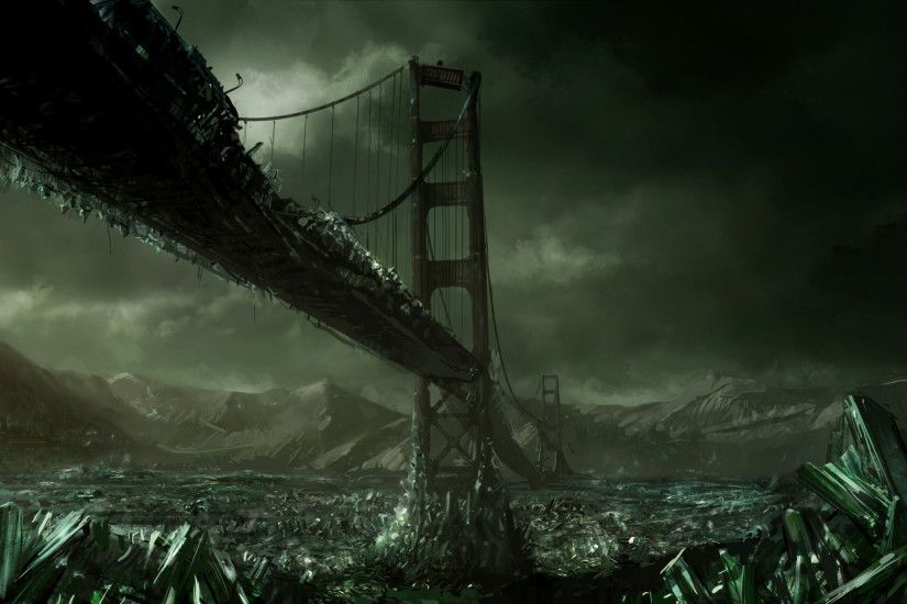 Video Game - Command & Conquer 3 Sci Fi Crystal Post Apocalyptic Bridge  Dark Destruction Wallpaper