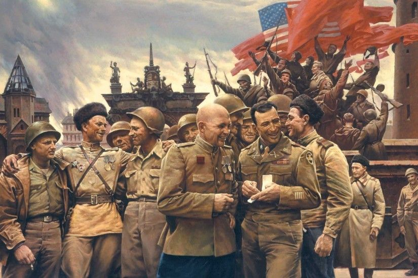 Soldiers, Ussr, Victory, Usa, Flags, War