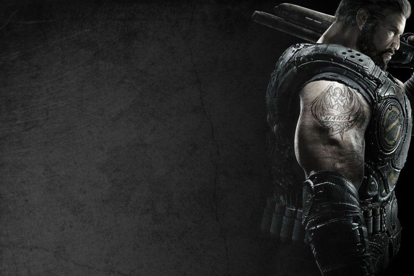 Download Wallpaper 1920x1080 gears of war, soldier, tattoo, shoulder,  background, marcus fenix Full HD 1080p HD Background